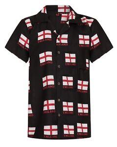 Camisa-Mens-Hawaiian-Futbol-Inglaterra-Euro-Saint-Georges-Stag-Fiesta-Reino-Unido-de-Gran-Bretana
