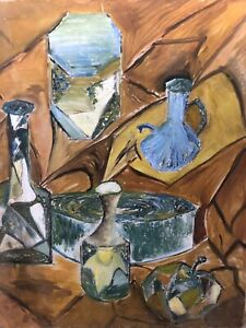 Antique-Mid-Century-Cubist-Cubism-Still-Life-Oil-Painting-Braque-Gris