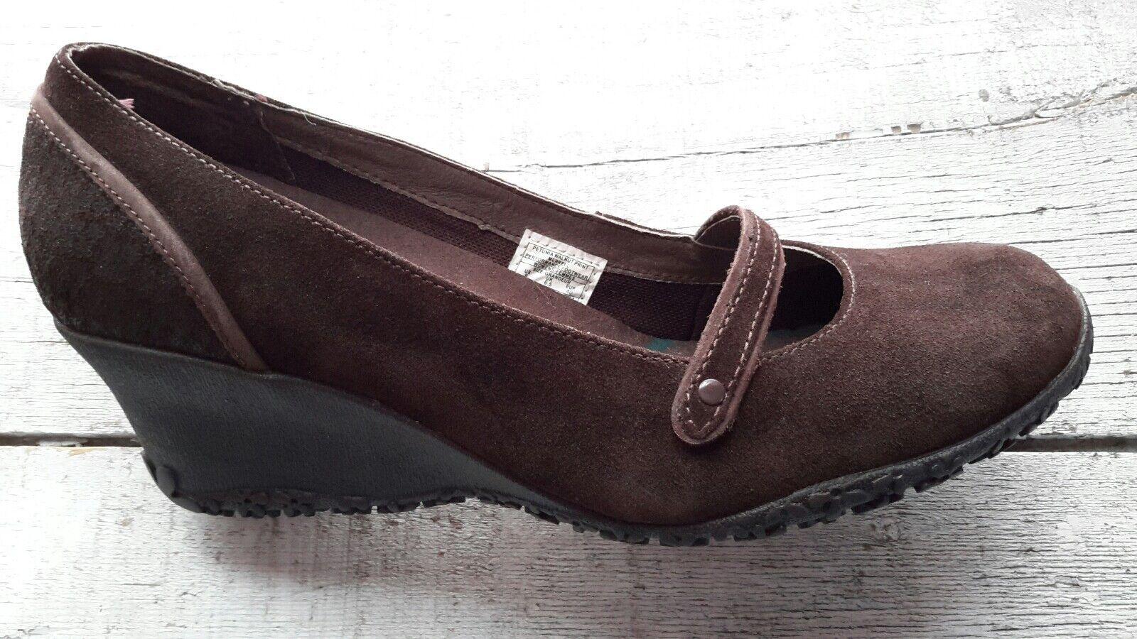 Merrell Petunia Chaussures Mary Jane Compensé En Daim Marron À Enfiler Vibram Chaussures Taille 9