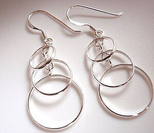 Triple-Overlapping-Circles-Earrings-Sterling-Silver-Dangle-Corona-Sun-Jewelry