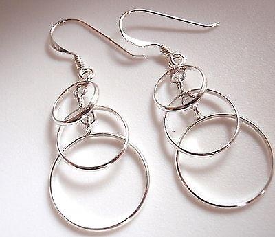 Triple Overlapping Circles Earrings Sterling Silver Dangle Corona Sun Jewelry