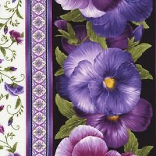 Viola Floral Border Cotton Quilt Fabric by Timeless Treasures Purple Lavender