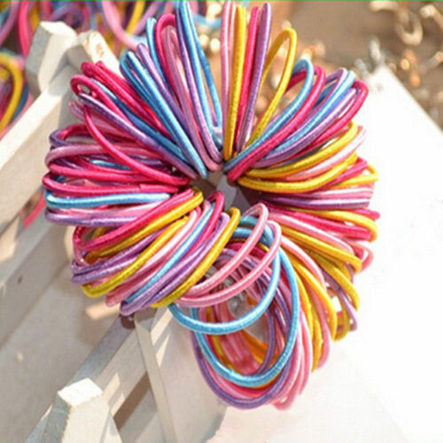 100Pcs Lot Kids Girl Elastic Rope Hair Ties Ponytail Holder Head Band Hairbands