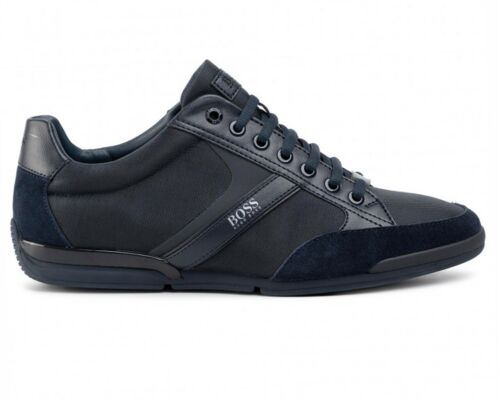 RRP £140.00 Hugo Boss Saturn Lowp Mx 50407672 001 Mens Trainers Black A3