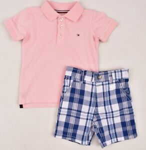 TOMMY-HILFIGER-Boys-039-Kids-039-2pc-Summer-Outfit-Set-Shorts-amp-Polo-18-24-months