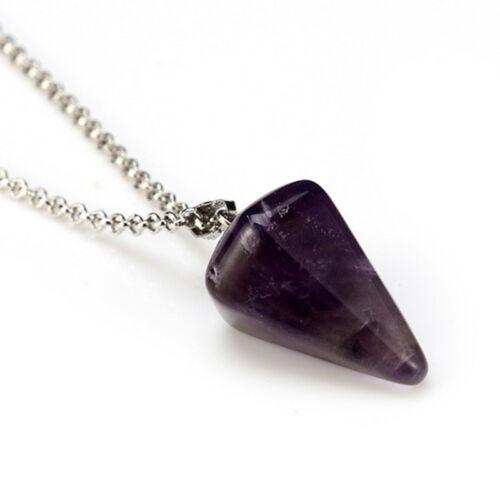Natural Crystal Quartz Stone Gemstone Pendant Healing Chakra Reiki Necklace