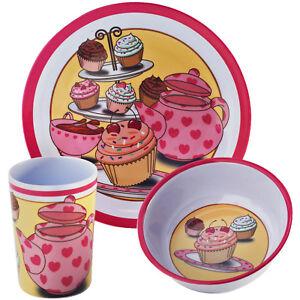 Image is loading Viners-3-Piece-Tea-Party-Melamine-Kids-Children-  sc 1 st  eBay & Viners 3 Piece Tea Party Melamine Kids Children Cup Plate Bowl ...