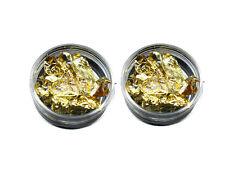 2 x 3g pots of nail art foil leaf flakes fine gold  pot  for nails decoration