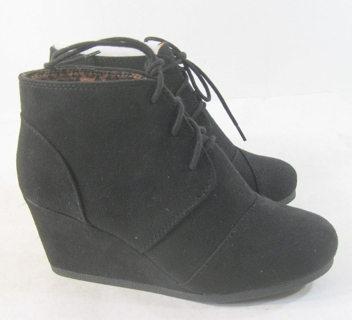 """Black 2.5"""" High Wedge Heel Lace Up Round Toe Sexy Ankle Boot Size 7"""