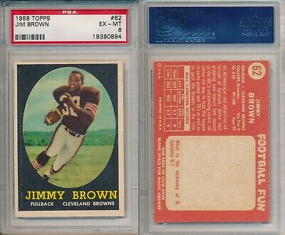 Jim Brown Browns 1958 Topps Rookie Card Rc Football 82 Psa
