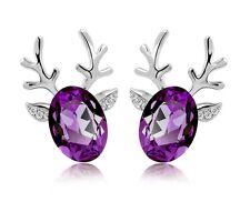 Luxury Deer Design Silver Dark Purple Stud Earrings Great as Christmas Gift E484