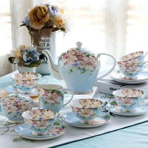 21-Pieces-Vintage-English-Style-Set-Bone-China-Tea-Kettle-Teapot-amp-Saucers