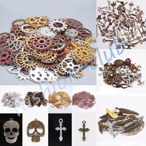 Wholesale Steampunk Skull Cross Gear Pendant Charms For Bracelet Jewelry Finding