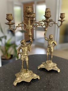 Antique-Brass-Candelabra-Pair-Candlesticks-Vintage-Gothic-Tudor-Style-2-Holders