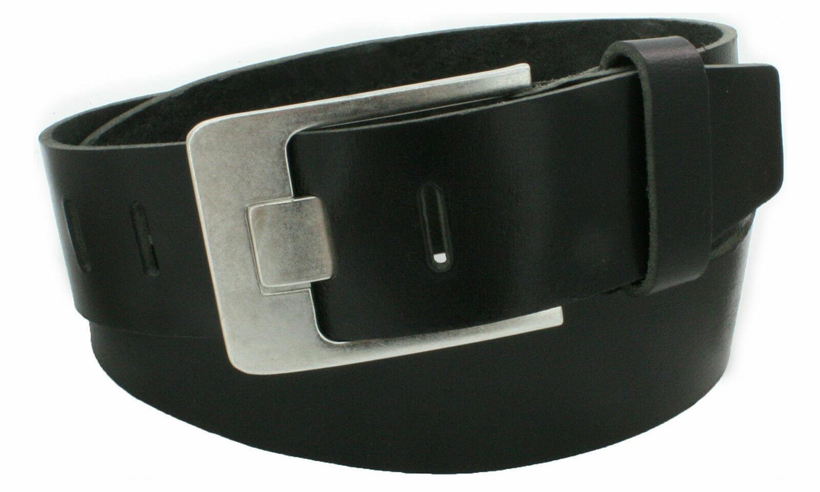 5 cm Ledergürtel echtes Leder schwarz Büffelleder Gürtel Jeans Belt Vascavi