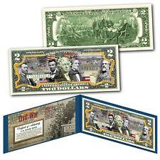 American CIVIL WAR Confederate & Union Generals and Commanders Genuine $2 Bill