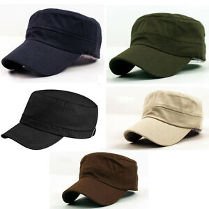 Fashion-Men-Women-Commen-Flat-Cap-Army-Hat-Baseball-Cap-Cotton-One-Size