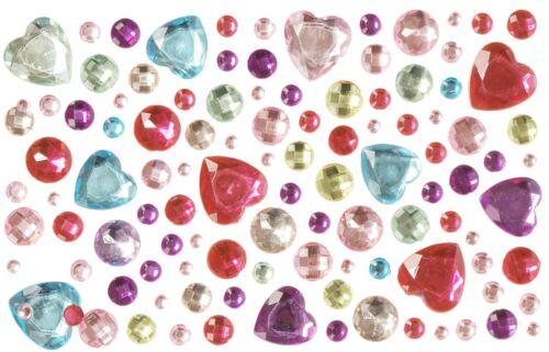 Schmucksteine Herzen  105 Glitzersteine selbstklebend aufkleben Zauberstab  NEU