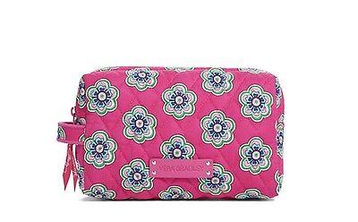 VERA BRADLEY Medium Zip Cosmetic PINK SWIRLS FLOWERS Makeup Bag Lined $28 NEW!