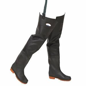 PVC-Fishing-Waders-Hip-Waterproof-River-Boot-with-Cleated-Soles-45-Black
