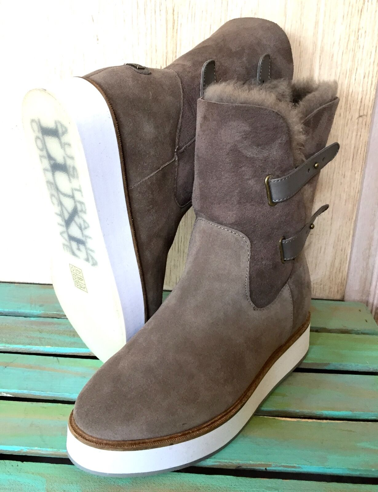 NIB Anthropologie Australia Luxe Taupe Fur Lined Shearling Suede Wedge Boots 7