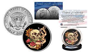 SKULL-Tattoo-Roses-Official-Legal-Tender-JFK-Kennedy-Half-Dollar-U-S-Coin