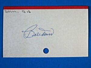 BOBBY DOERR SIGNED 3x5 INDEX CARD ~ BASEBALL AUTOGRAPH  100% GUARANTEE