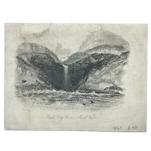 Authentic Antique 1700-1800's Engraving On Paper — Manuscript Artwork Old Art A