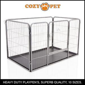 Heavy-Duty-Cozy-Pet-Puppy-Playpen-Run-Crate-Pen-75-5cm-High-Dog-Cage-ABS-Floor