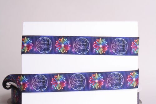 """10 Yard SHIP FREE FROM USA HAIRBOW 5 HAPPY NEW YEAR 7//8/"""" Grosgrain Ribbon 1 3"""