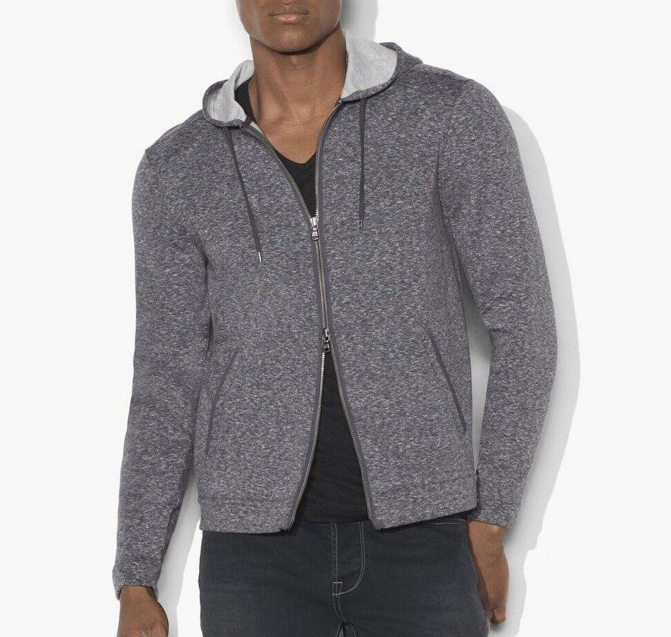 John Varvatos Star USA Men's Zip Front Dual Face Marled Fabric Hoodie Med Grey