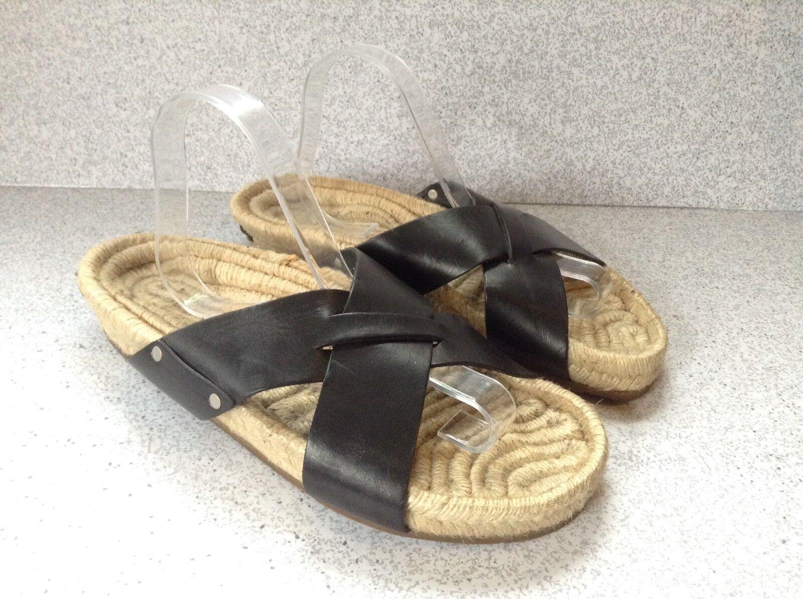 Ralph Lauren Black Label Women's Sandals Sze 10M Woven Woven Woven Straw Black Leather  f1f367