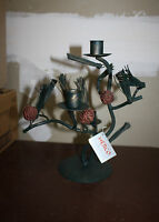 Pine Limb & Cone Wrought Iron Candle Holder Herco Iron Art Accent