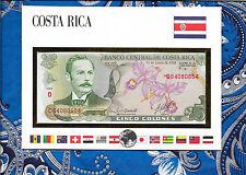 COSTA RICA 1990 UNC 5 Colones Banknote Money Bill P 236e