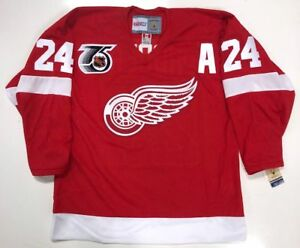 BOB-PROBERT-DETROIT-RED-WINGS-CCM-1991-NHL-75th-ANNIVERSARY-JERSEY-NEW-W-TAGS