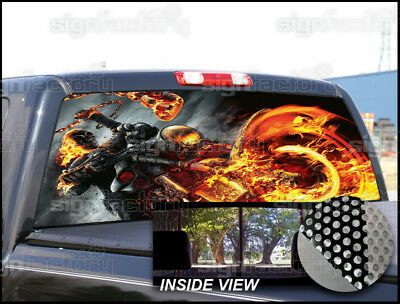 P195 Ghost Rider Rear Window Tint Graphic Decal Wrap Back Pickup Graphics