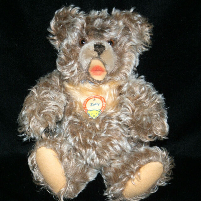 """Steiff 11"""" ZOTTY Bear Curly Plush Blue Ribbon Bow With Chest Tag"""