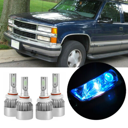 4Pcs LED Headlight Kit Ice Blue Hi//Lo Beam Bulb For GMC Suburban//Yukon 1995-99