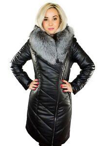 pretty nice 98efd f475b Details zu Damen Mantel Wintermantel Eco Leder Mantel mit Pelz Fell  Silberfuchs Pelzkragen