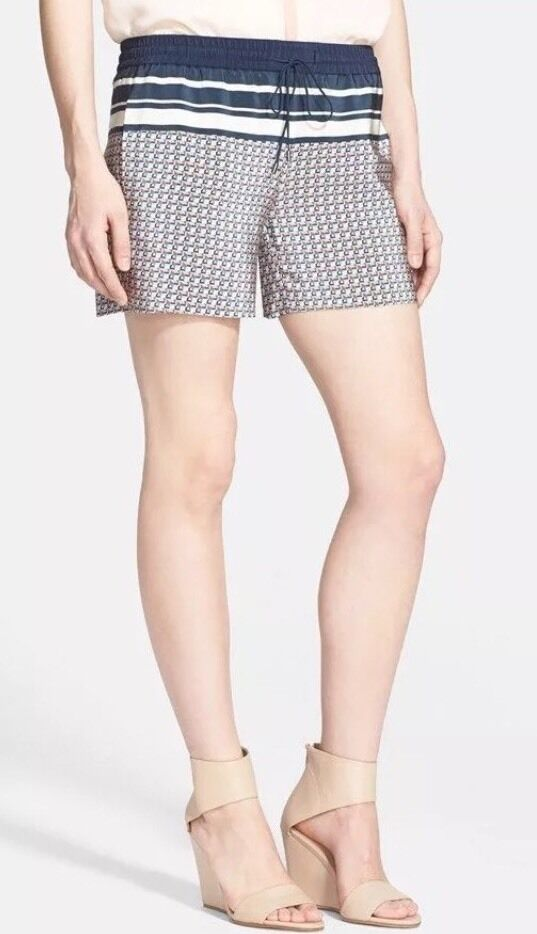 Vince Border Print Coastal Navy bluee Tie-Front Silk Shorts - Size L 2118
