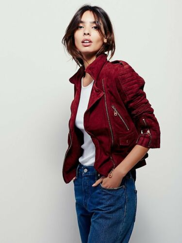 Nwt Free People Doma Suede Moto Biker Jacket Burgundy Red S Sold Out Rare $798 by Doma