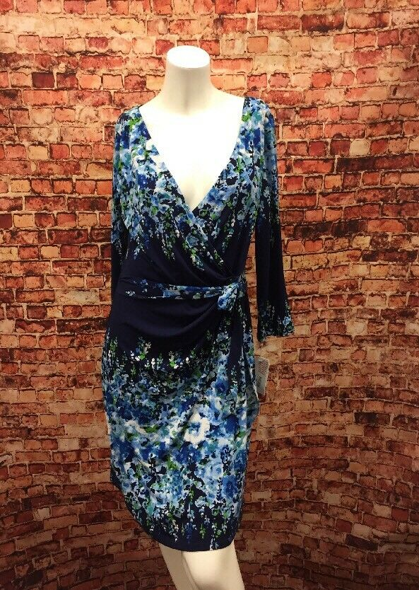 Jessica Simpson Navy bluee Light bluee Green  Faux Wrap Sheath Dress Size 10