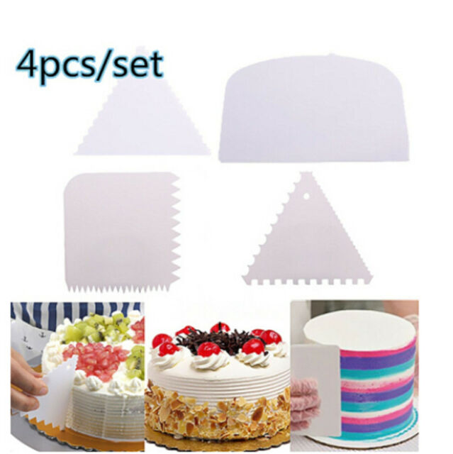 4pcs/set Cake Edge Side Scraper Plastic Cutter Butter Cream Baking Smoother Tool