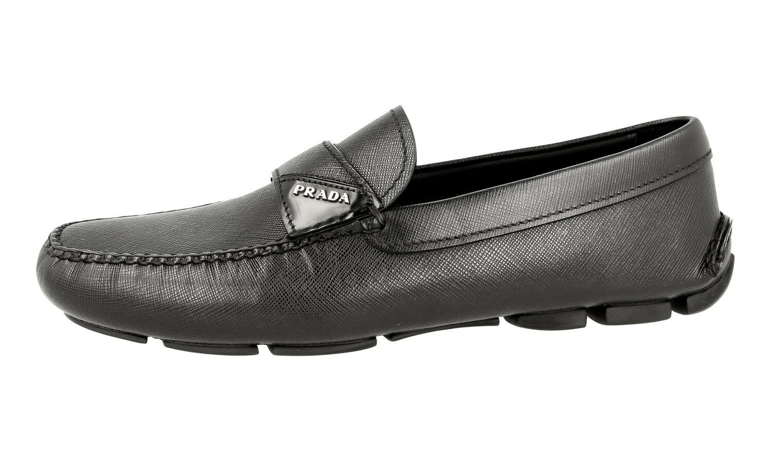 LUXURY PRADA SAFFIANO LOGO NEW LOAFER SHOES 2DD125 BLACK NEW LOGO US 7 e4cee5