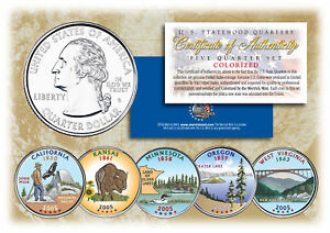 2005-US-Statehood-Quarters-COLORIZED-Legal-Tender-5-Coin-Complete-Set-w-Capsules