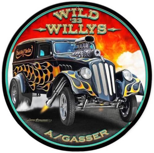 Hot Rod Rat Rod 33 Wild Willys Gasser Metal Sign Man Cave Garage Grossman LG441