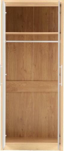 Grey Gloss /& Light Oak Effect 2 Door Wardrobe W76cm x D47cm x H180cm SYLVIA