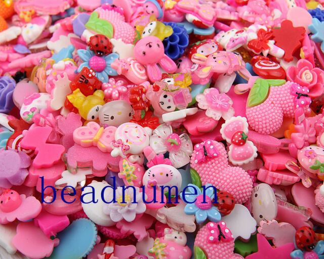 200pcs Pink Cat Flatbacks Jewelry Making