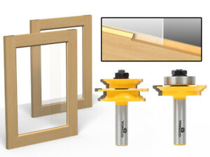 "Ogee 2 Bit Glass Door Rail and Stile Router Bit Set - 1/2"" Shank - Yonico 12234"