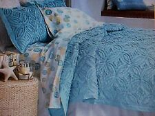 New KING Size Bedspread & Shams ** Chenille Tranquil Blue